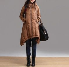 Hooded cotton-padded jacket/Long tall waist coat/Irregular draw string cotton-padded clothes