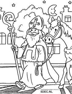 Kleurplaat: Sinterklaas
