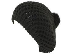 9101 Black Super soft thick Beret with Pom Pom for women Size: One Size $12.95