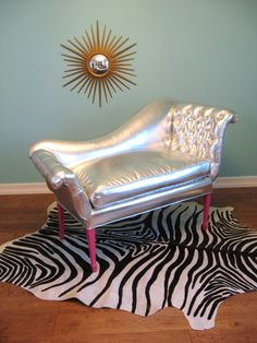 vintage hollywood regency silver french tufted settee :: fabulous mess!