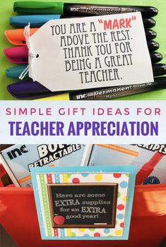 Support your child's teacher this year with these Simple Teacher Appreciation Gift Ideas. We all know how quickly kids go through supplies! Simple Gifts, Easy Gifts, Homemade Gifts, Cute Gifts, Teachers Day Gifts, Teacher Gifts, Teacher Treats, Employee Appreciation, Teacher Appreciation Gifts