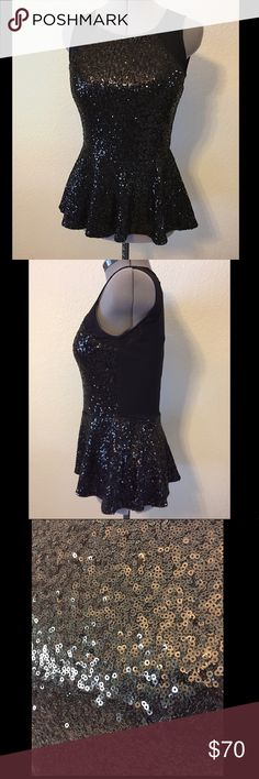 Gianni Bini Black Sequin Peplum Top Gorgeous Gianni Bini Black Sequin Peplum Top - Perfect for a party or fancy event. NWT. Gianni Bini Tops Blouses