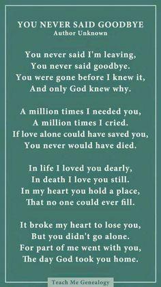 You never said goodbye