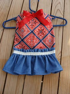 Country Red and Blue Bandana and Denim Dog Dress Small