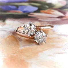 Double diamond ring - Vintage Toi Et Moi Double Diamond Ring t w Old European Cut Bypass Engagement Anniversary Ring Rose Gold Platinum – Double diamond ring Alternative Engagement Rings, Vintage Engagement Rings, Vintage Rings, Diamond Engagement Rings, Pink Diamond Jewelry, Diamond Rings, Diamond Cuts, Ring Ring, Gold Platinum