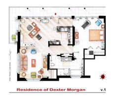 """. This is the apartment of Dexter Morgan from the series """"DEXTER"""". . Note 1: The biggest problem with this design has been the bathroom. The whole set of Dexter (both inside and outside) was built entirely on a soundstage from the first..."""