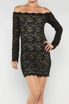 Catch Bliss Boutique - Black Lace Off-shoulder Dress, $42.00 (http://www.catchbliss.com/black-lace-off-shoulder-dress/)