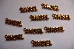 Buy Word Charm, antiqued, gold pewter, tin based alloy, 20x5mm, angel, Pkg Of 4 by darsjewelrysupplies. Explore more products on http://darsjewelrysupplies.etsy.com