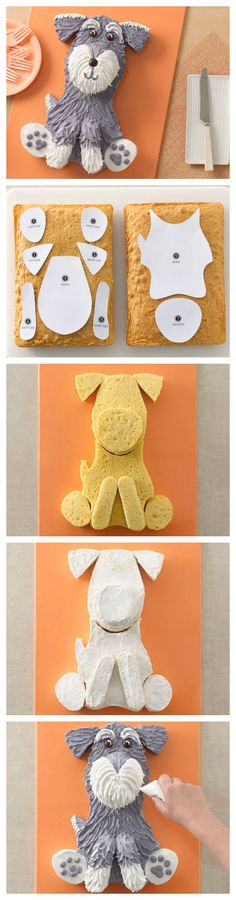 Dog Cake and template!Your Schnauzer will want a slice of course!Schnauzer Dog Cake and template!Your Schnauzer will want a slice of course! Cake Decorating Tips, Cookie Decorating, Decorating Supplies, Dog Cakes, Cupcake Cakes, Animal Cakes, Gateaux Cake, Puppy Party, Mini Schnauzer