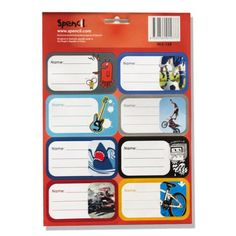 16 Self Adhesive School Book Labels for Boys - School Depot NZ