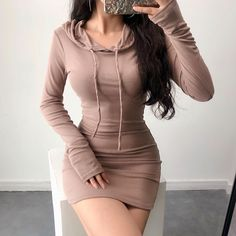 Drawstring tight-fitting hip skirt elastic waist long sports sweater · FE CLOTHING · Online Store Powered by Storenvy Boujee Outfits, Teen Fashion Outfits, Girly Outfits, Classy Outfits, Look Fashion, Pretty Outfits, Pretty Dresses, Stylish Outfits, Girl Fashion
