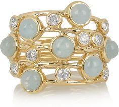 Lollipop 18karat Gold Diamond and Aqua Ring