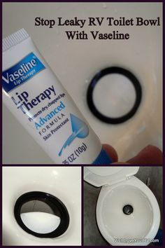 If your seal dries out it can start to develop a slow leak draining out the water and causing a dry bowl. I've found when this happens or as preventive maintenance a coating of Vaseline on the seal works wonders at keeping the seal nice and supple and leak proof. Vaseline lip therapy works great and comes in a nice handy sized tube for easy storage in the RV bathroom. >>> http://www.loveyourrv.com/stop-rv-toilet-bowl-from-leaking/ #RV #RVing #Tips #Tricks