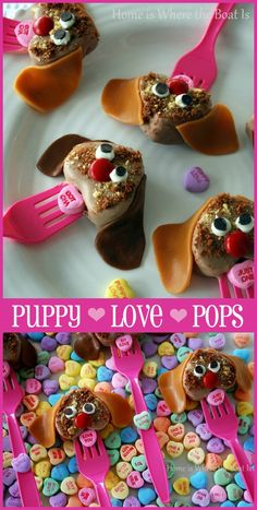 Puppy Love Cake Pops! Who can resist puppies? Use frozen pound cake and a heart cookie cutter to fashion cake pops the kids will enjoy for a Valentine's Day treat. | Home is Where the Boat Is