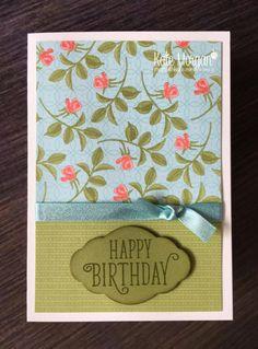 Stampin' Up! Happy Birthday Gorgeous & Petal Garden DSP by Kate Morgan, Independent Demonstrator, Rowville. Feminine Birthday Card DIY