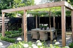 The pergola kits are the easiest and quickest way to build a garden pergola. There are lots of do it yourself pergola kits available to you so that anyone could easily put them together to construct a new structure at their backyard. Modern Pergola, Outdoor Pergola, Pergola Plans, Outdoor Rooms, Pergola Ideas, Outdoor Dining, Pergola Decorations, Black Pergola, Pergola Carport