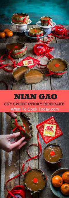 Chinese New Year Nian Gao (Sweet sticky rice cake). Steamed sticky rice cake commonly seen during Chinese New Year celebration