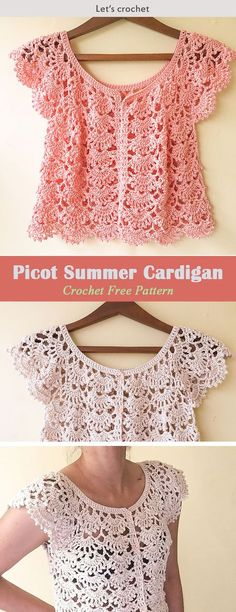 This Picot Fan Summer Cardigan Crochet Free Pattern makes a beautiful and timeless cardigan that's perfect for outdoor wear. Make one now with the free pattern provided by the link below. Crochet Christmas Slippers With Pom Pom Crochet Snowflake Orna Col Crochet, Crochet Pattern Free, Gilet Crochet, Crochet Motifs, Crochet Cardigan Pattern, Crochet Jacket, Crochet Shawl, Knitting Patterns Free, Ravelry Crochet