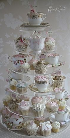 Cute cupcake set-up for weddings/parties. Use vintage tea-cups mixed in with the cupcakes. Cotton And Crumbs, Tea Party Bridal Shower, Cupcakes For Bridal Shower, Tea Party Wedding, Bridal Showers, Wedding Gifts, My Tea, Cupcake Cakes, Teacup Cupcakes