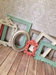 Vintage Style PICTURE FRAMES - mint and coral -  shabby chic - Wedding - Glass and Backing