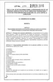 #Colombia Normatividad #Transparencia Ley 1778 de febrero de 2016