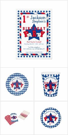 """1st Birthday - Patriotic Stars and Stripes:  Cute for your little one's first birthday party, this collection features a center blue star with the word """"Party"""" in red and white in center.  Simply personalize the templates with your party details and add to cart.  More items with this theme created for July 4th and Labor Day can be found in our shop at https://www.zazzle.com/holidayhearts?rf=238345039376148997&tc=pin"""