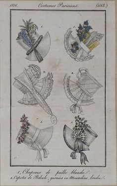 1816 Costumes Parisien. 1. Hats of white straw. 2. Bonnets of cotton, trimmed with embroidered muslin.