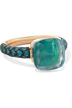 Pomellato - Nudo Rose And White Gold, Agate And Topaz Ring - Rose gold Blue Gemstones, Topaz Gemstone, Topaz Ring, Womens Jewelry Rings, Women Jewelry, Fashion Jewelry, Bling Bling, Cartier, Sterling Silver Rings