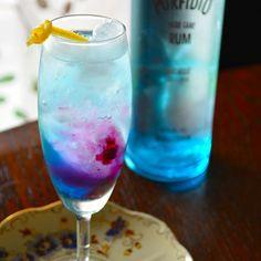 Rum Cocktail 夏の太陽が沈んだ空のグラデーションカラー ラム&ベリーサワー