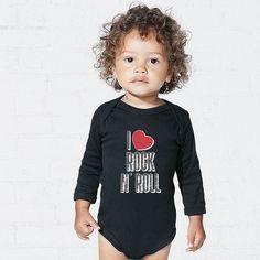 Αυτό το παιδί μεγαλώνει με σωστή μουσική παιδεία..! Baby Bodysuit, Rock And Roll, Onesies, T Shirt, Kids, Clothes, Fashion, Supreme T Shirt, Young Children