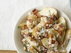 Perfect #picnic potato salad! Try this fingerling potato #salad with #bacon and sundried tomatoes recipe!