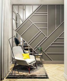 Interior design of home office : Interior design of home office on Behance Office Interior Design, Luxury Interior Design, Interior Exterior, Wall Panel Design, Feature Wall Design, Wall Partition Design, Accent Wall Bedroom, Wood Panel Walls, Paneling Walls