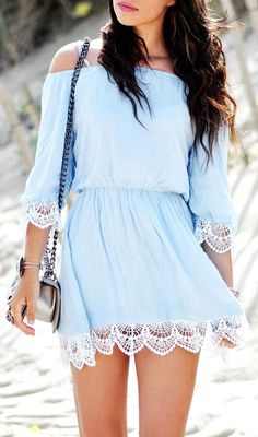 Soft blues mixed with lace.