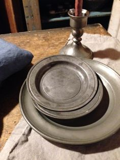 """Sweet and handy to tuck under candles, plants or cookies. You will love and use these Pewter Plates.  8""""D"""
