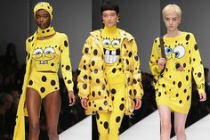 Also, some clothes inspired by Spongebob, because Jeremy Scott loves his cartoonish inspirations and so should we all:  Read more: Moschino Fashion Show McDonalds - Moschino Fashion Show Spongebob Squarepants - Seventeen Follow us: @david on Twitter | seventeenmagazine on Facebook Visit us at Seventeen.com