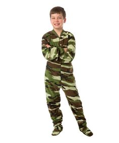 2bb1d4abd6 Big Feet Pjs Green Camo Fleece Footed Pajamas - Boys