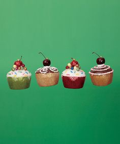 Take a look at the Glitter Cupcake Ornament Set on #zulily today!