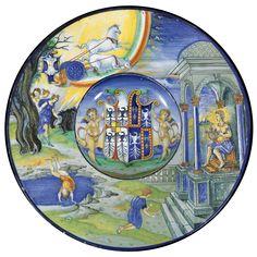 An Urbino dish from the Isabella d'Este service<br>circa 1524 . Glazes For Pottery, Ceramic Pottery, Man Kneeling, Italian Art, Renaissance Art, Art Decor, Modern Art, Auction, Antiques