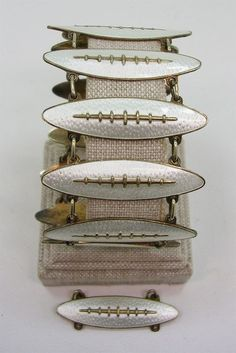 Norway Modernist Oystein Balle Gold Washed Sterling Silver White Enamel Bracelet #OysteinBalle