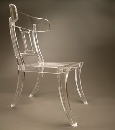 Dragonette's Klismos brings an acrylic update to the time-honored chair design Lucite Chairs, Lucite Furniture, Acrylic Furniture, Rustic Furniture, Types Of Furniture, Furniture Styles, Adirondack Chair Kits, Ghost Chairs, Plexiglass