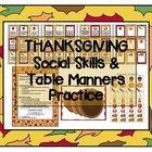 Thanksgiving Social Skills / Pragmatics / Etiquette Activity game Speech therapy