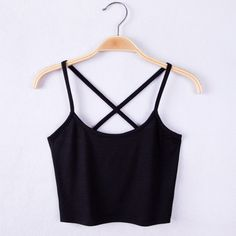Black Tank Crop Tops Casual Style Bustier Crop Top Strap Cross  Summer Short Tees