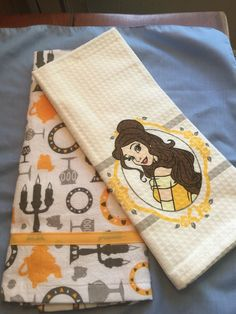 "Disney Parks Beauty and The Beast ""Princess Belle"" Kitchen Dish Towel Set New 