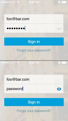 LinkedIn for iOS - When tapping the closed eyelid while logging in, the closed eyelid turns into an open eye and your password becomes visible./via Chance Feick