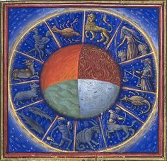 The Zodiac, Elements and Heavenly Spheres, Bartholomaeus Anglicus, On the Properties of Things, BnF fr. Medieval Manuscript, Illuminated Manuscript, Voynich Manuscript, Ancient Astronomy, Tarot, Taurus And Gemini, Aquarius, Star Chart, Astrology Zodiac