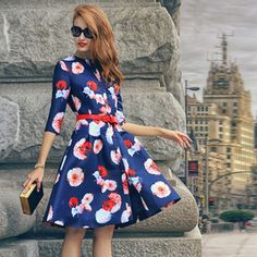 Shop Floral Buttons Flare Dress at ROMWE, discover more fashion styles online. Pretty Outfits, Pretty Dresses, Beautiful Dresses, Cute Outfits, Floral Dress Outfits, Casual Dresses, Dress Me Up, I Dress, Look Fashion