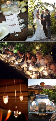 My ideal wedding table. long. candlelight. cream puff flowers. evening glow.