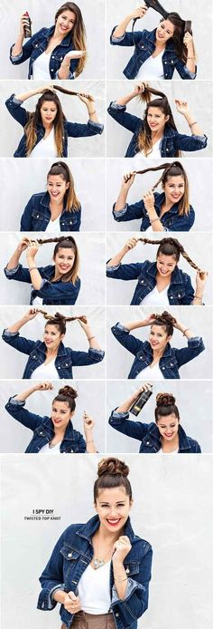 Twist your length and style your hair into a cute bun. Easy summer styles