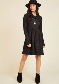 Honoring Hygge Dress in Charcoal. Take a page from Danish culture and embrace the weather's chill by snuggling into this dark grey dress! #black #modcloth