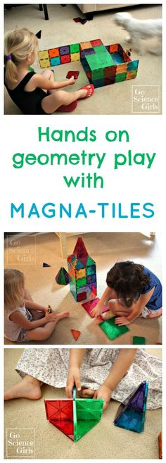 Hands on geometry play with Magna-Tiles (magnetic building tiles) | Math and STEM fun for kids